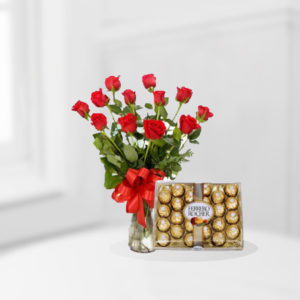 1 Dozen Rose Vase With Ferrero