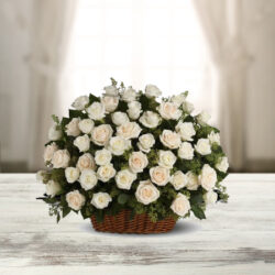 100 White Roses in a Basket