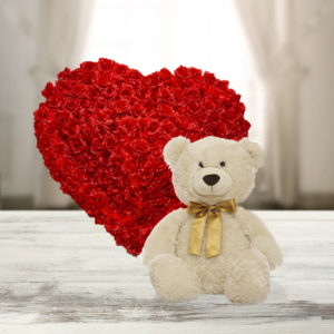 100 Red Roses with Bear