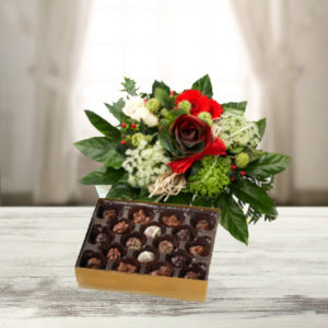 Holiday Greetings Bouquet And Chocolate