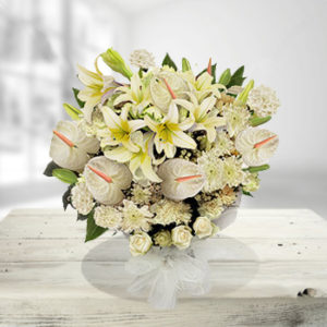 MIXED WHITE EXOTIC FLOWERS