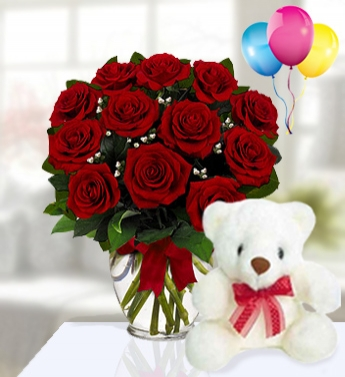 dozen red roses and teddy shaheena flowers