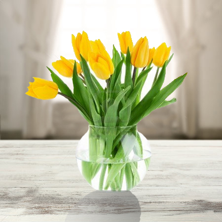 10 Yellow Tulips In A Vase Shaheena Flowers