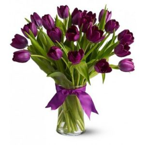 Flowers in glass vase shaheena flowers beautiful purple mightylinksfo